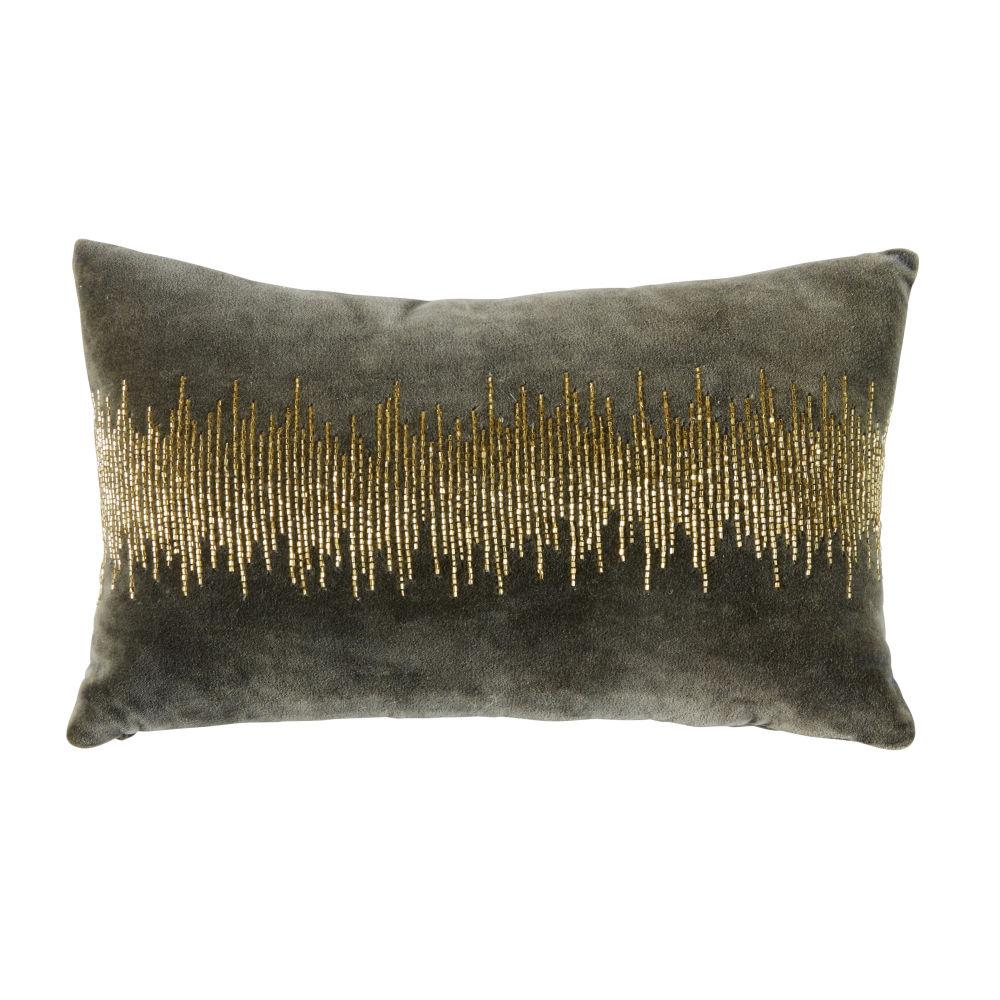 Kissen aus anthrazitgrauem Samt mit goldfarbenen Motiven aus Perlen 25x40