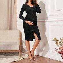 Umstandsmode Kleid mit V-Kragen, Knopfen vorn und Glitzer