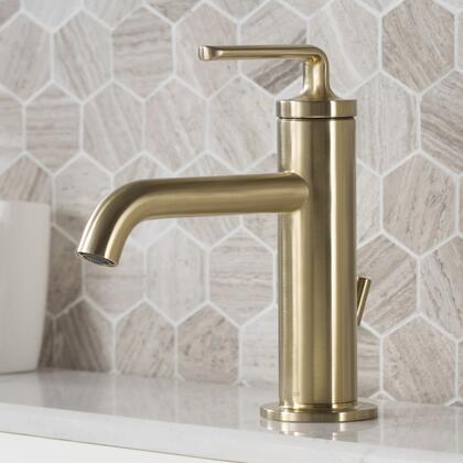 KBF-1221BG-2PK Novis Single Handle Bathroom Sink Faucet with Lift Rod Drain in Brushed Gold