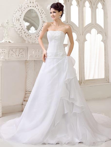 Milanoo Vestido de novia sin tirantes rebordear vestido de novia lado drapeado vestidos de novia de organza