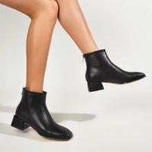 Botas tobilleras con diseño de puntada de punta cuadrada