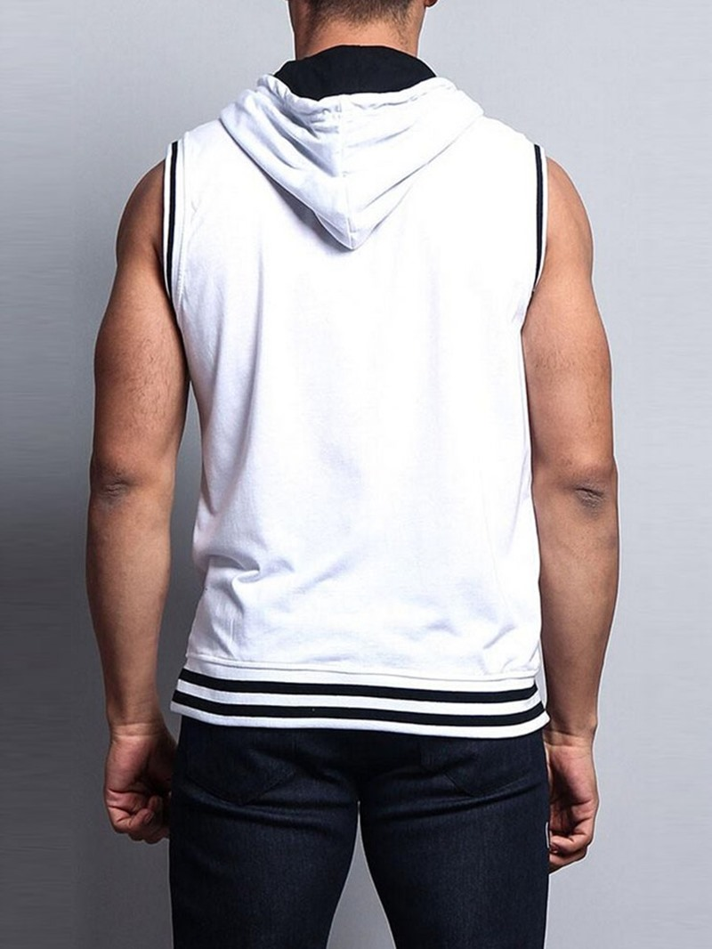 Ericdress Hooded Color Block Loose Mens Zipper Vest