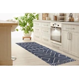 SCANDI IKAT NAVY Kitchen Mat By Kavka Designs (2'6