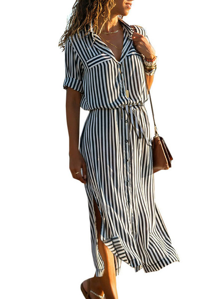 Milanoo Maxi Dress Long Sleeves Orange Stripes Turndown Collar Polyester Long Dress
