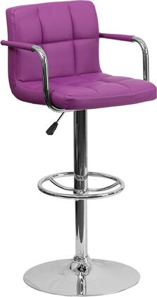 CH102029 Collection CH-102029-PUR-GG Barstool with Adjustable Height  Swivel Seat  Footrest Support  Contemporary Style  Chrome Pedestal Base and