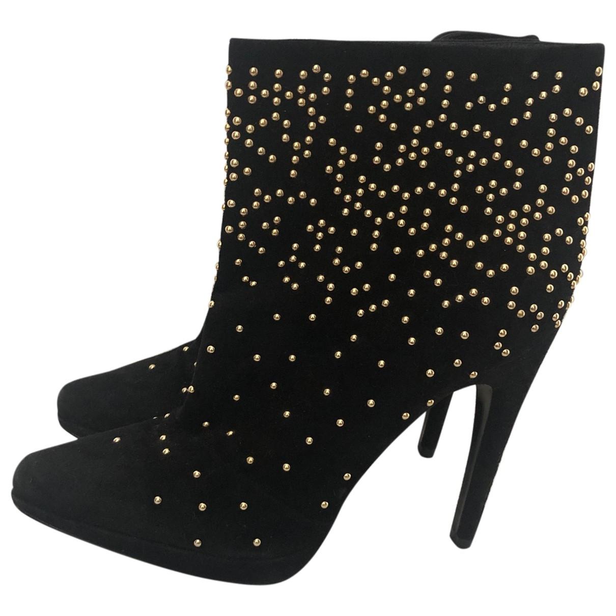 Trussardi - Boots   pour femme en cuir - noir
