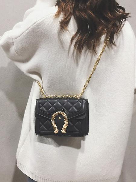 Milanoo Women\'s Quilted Crossbody Bag Chain Handbag