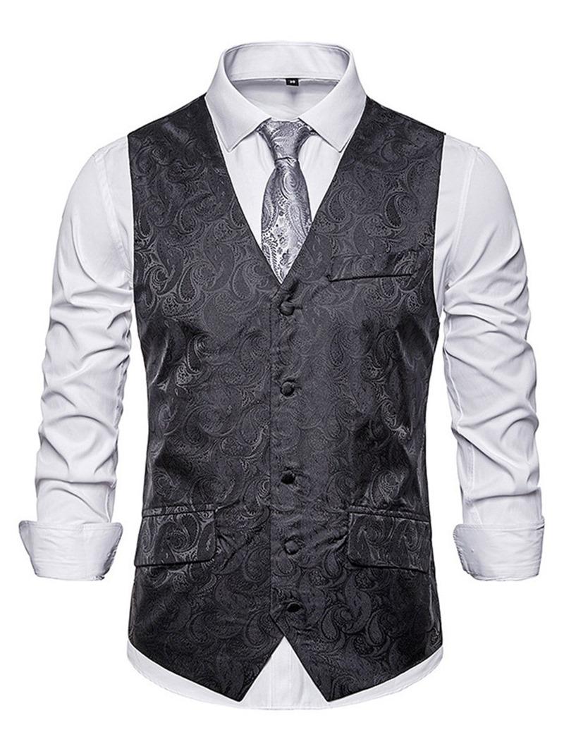 Ericdress Color Block V-Neck Fashion Mens Single-Breasted Waistcoat