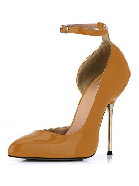 Milanoo Zapatos de charol negro con hebilla de tacon stiletto