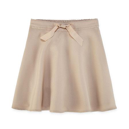 IZOD Little & Big Girls Elastic Waist Belted Scooter Skirt, 18.5 Plus , Beige