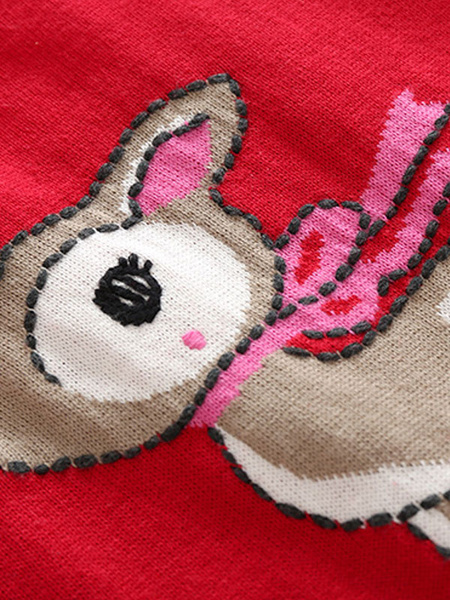 Milanoo Pajamas Kigurumi Onesie Toddler Christmas Reindeer Print Red Jumpsuit