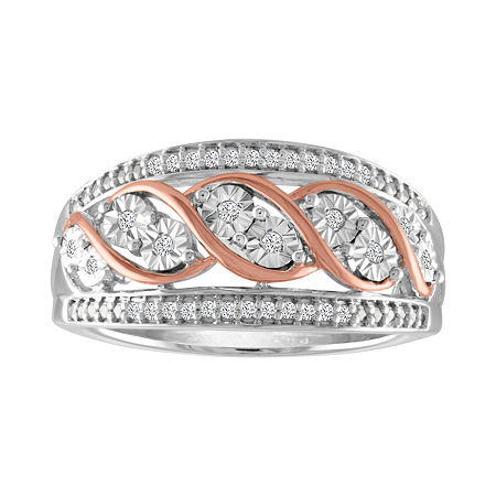 Womens 1/10 CT. T.W. Genuine White Diamond Sterling Silver & 14K Rose Gold over Silver Band, 6 , No Color Family