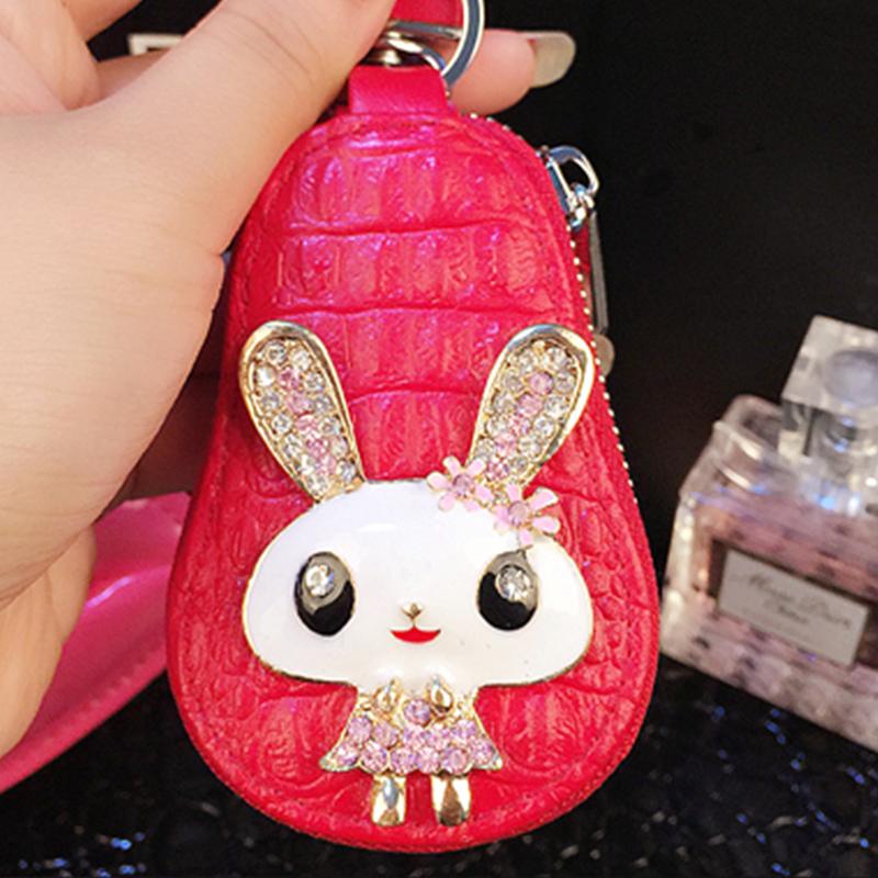 Rabbit Design Genuine Leather Women Diamond Car Zipper Key Case