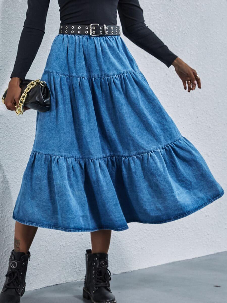 LW Lovely Sweet Fold Design Blue Denim Skirt