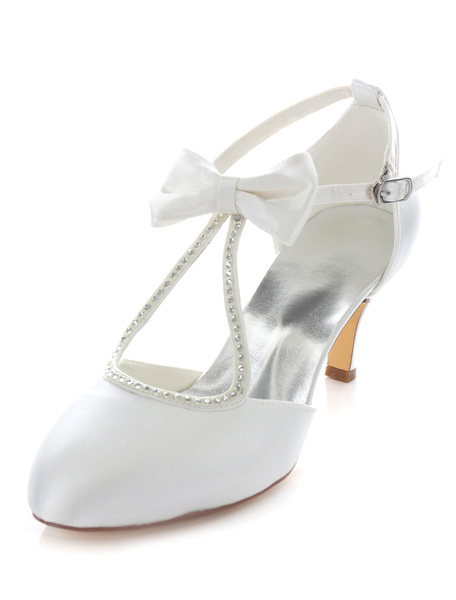 Milanoo Bow Bridal Sandals White Straps Satin Wedding Heels for Women