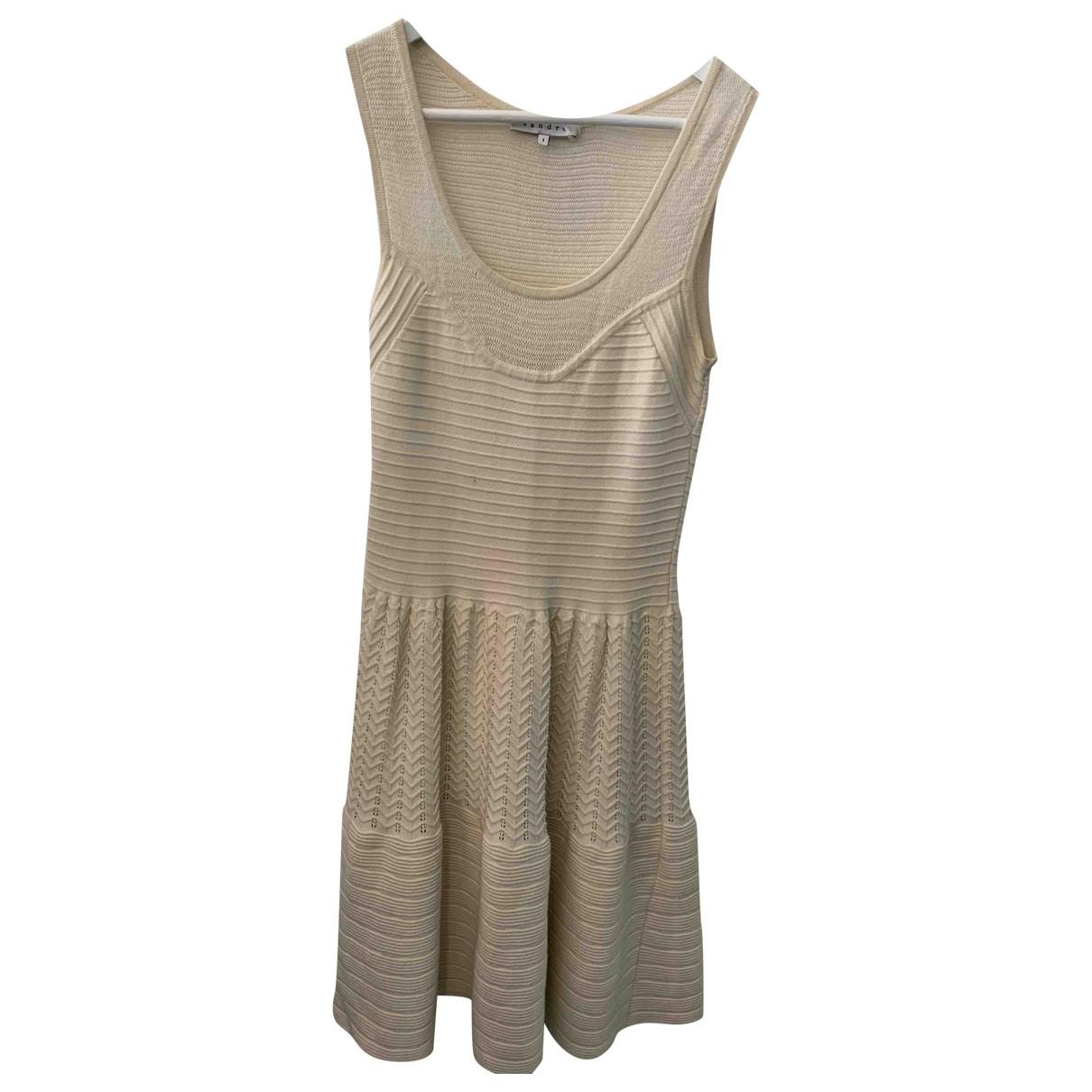 Sandro - Robe   pour femme en coton - ecru