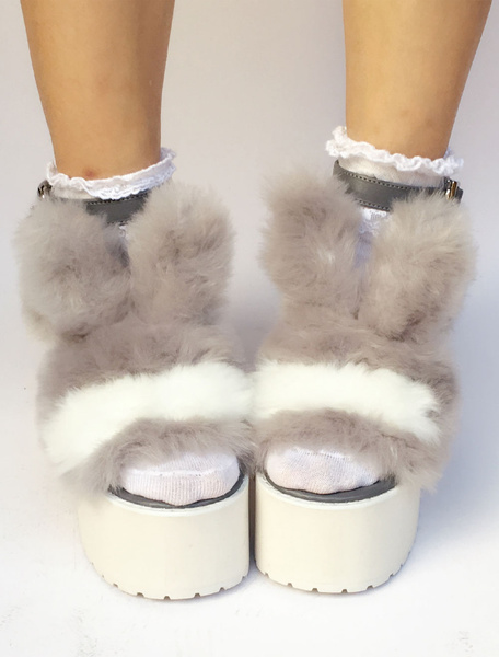 Milanoo Sweet Lolita Shoes Faux Fur Bunny Platform Chunky Heel Open Toe Lolita Sandals