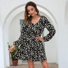 Floral Print Surplice Front Dress