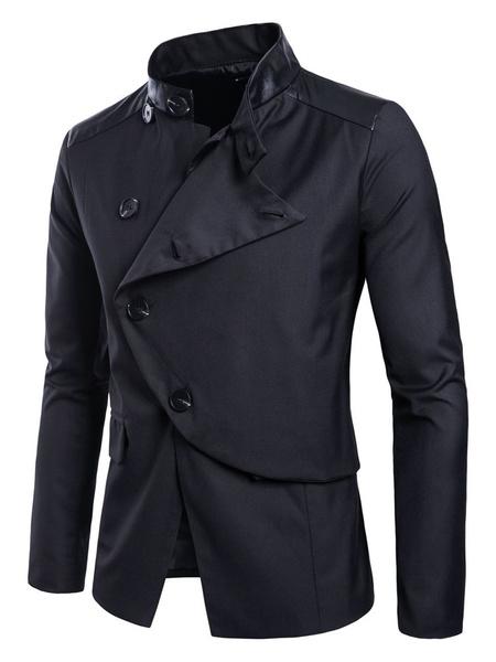 Milanoo Men Casual Blazer Pu Patchwork Stand Collar Button Surplice Slim Fit Blazer Jacket