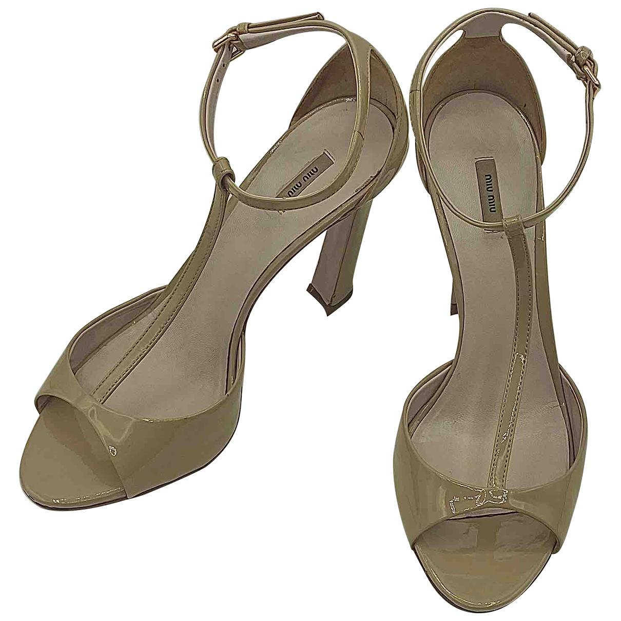 Miu Miu N Beige Patent leather Sandals for Women 37 EU