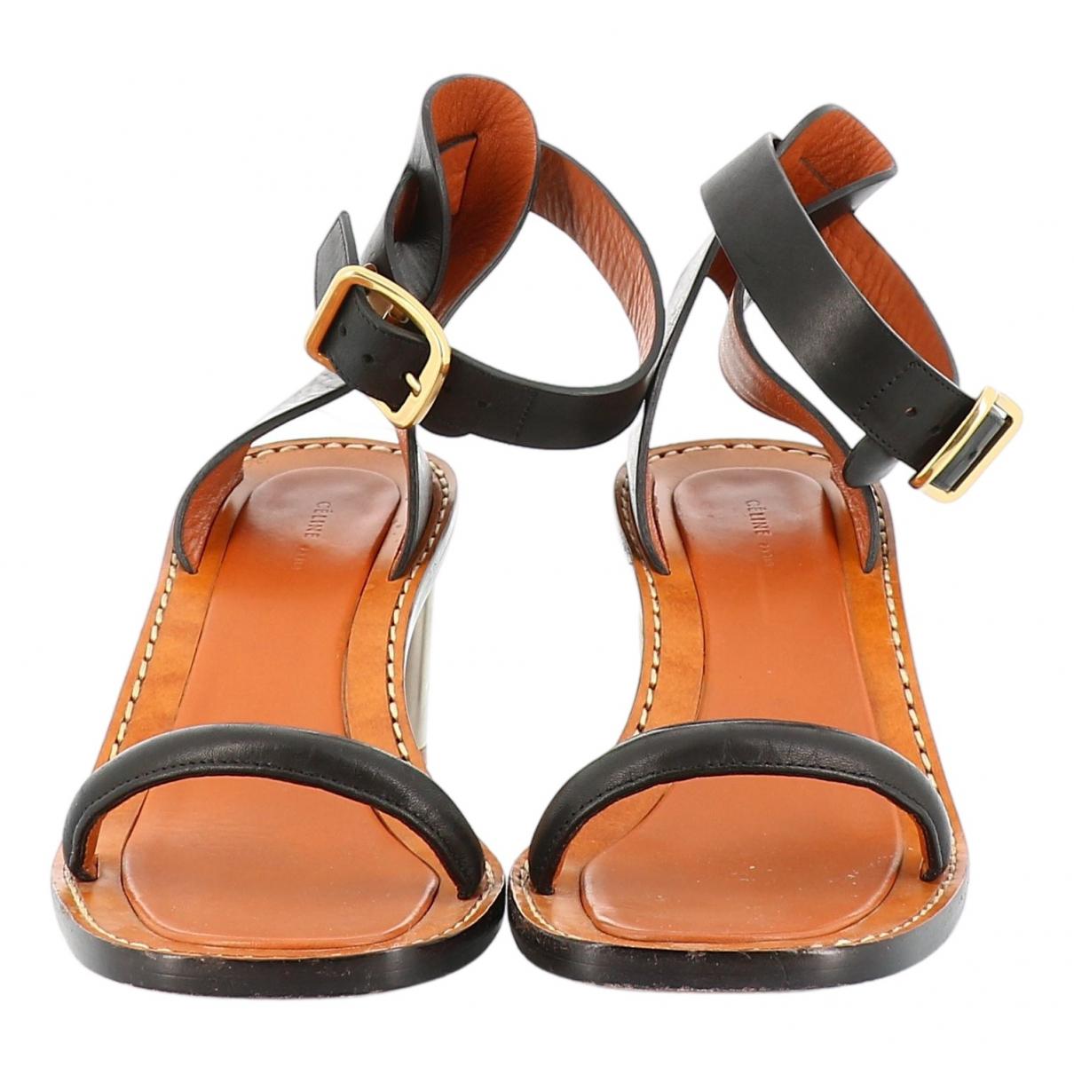 Celine \N Black Leather Sandals for Women 37 EU