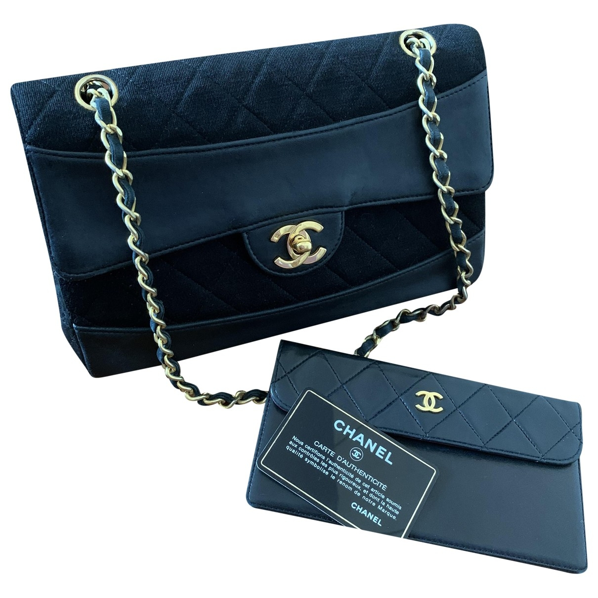 Chanel Timeless/Classique Handtasche in  Schwarz Leinen