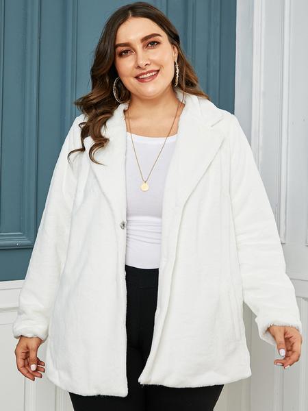 YOINS Plus Size White Lambswool Lapel Collar Long Sleeves Coat