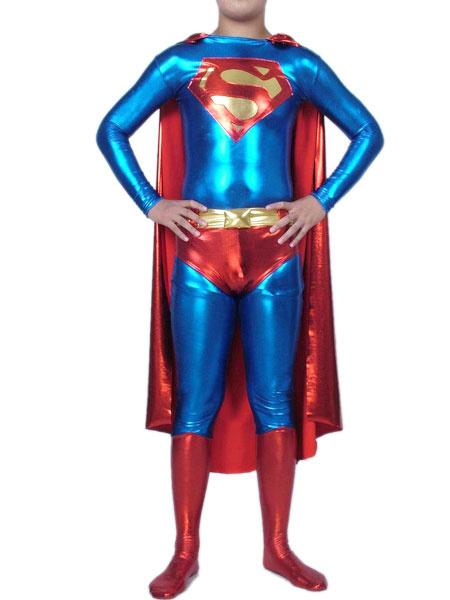 Milanoo Morph Suit Superman Bodysuit Superhero Shiny Metallic fabric Catsuit Unisex Full Body Suit