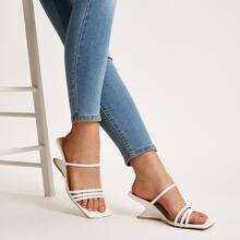 Open Toe Strappy Wedge Mules