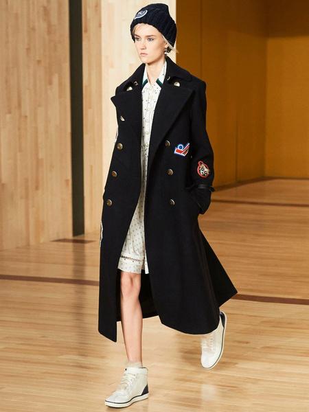 Milanoo Long Pea Coat Women's Logo Double Breasted Oversize Gabardine Dark Navy Winter Coat