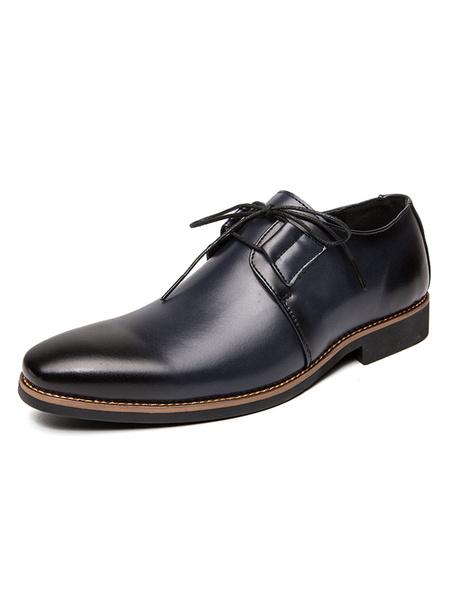 Milanoo Zapatos de vestir para hombre Zapatos de fiesta de cuero PU Ombre marron ajustable con correa de punta redonda moderna