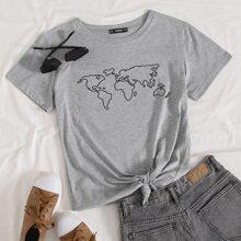 T-Shirt mit Landkarte Muster
