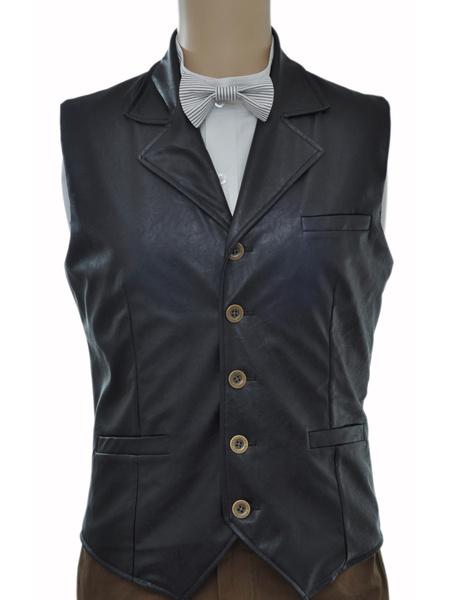 Milanoo Vintage Steampunk Costume Waistcoat Black Men's Faux Leather Retro Suit Vest Halloween