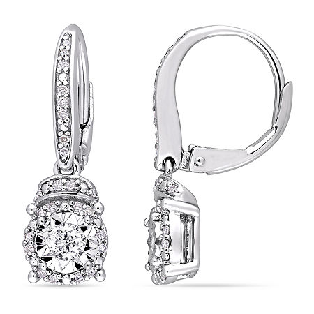 1/3 CT. T.W. Genuine White Diamond Sterling Silver Drop Earrings, One Size , No Color Family