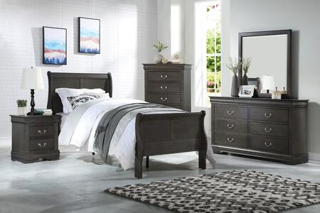 Louis Philippe Collection 26800TSET 5 PC Bedroom Set with Twin Size Bed  Dresser  Mirror  Chest and Nightstand in Dark Grey