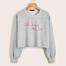 Crop Sweatshirt mit Buchstaben Grafik
