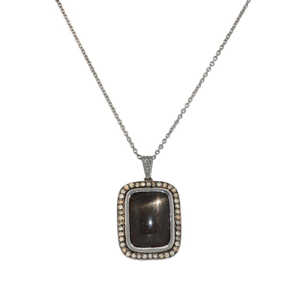Silver 10.93ct TDW White Diamond & Smoky Quartz Diamond Necklace (18 Inch - White)