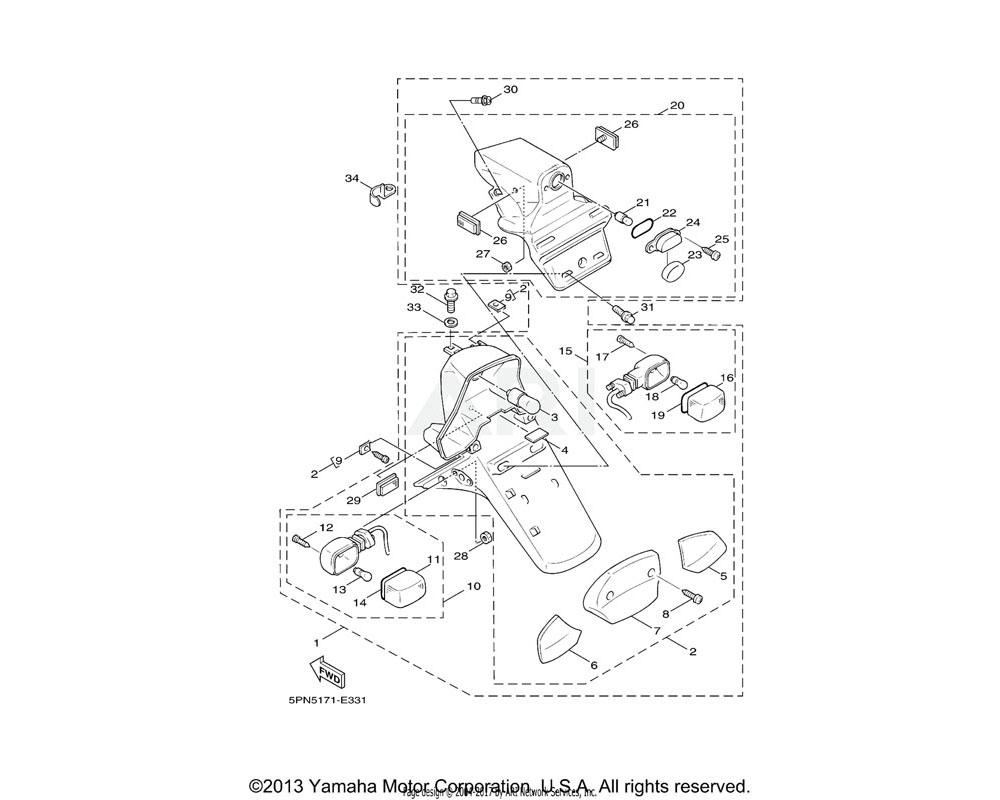 Yamaha OEM 4VP-H4721-00-00 LENS, TAILLIGHT