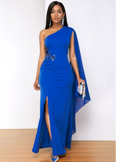 Rosewe Women Royal Blue Sequin Side Slit Cape Sleeve Maxi Cocktail Party Dress Solid Color Sleeveless Sheath Elegant Evening Party Dress - XL