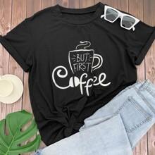 Camiseta con estampado de slogan y dibujo