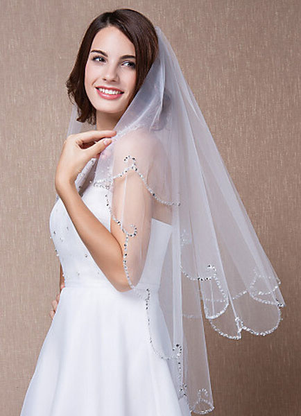 Milanoo Sequined Bridal Veil Two-Tiered Fingertip Scalloped Edge Oval Wedding Accessories With Comb(90*75cm)