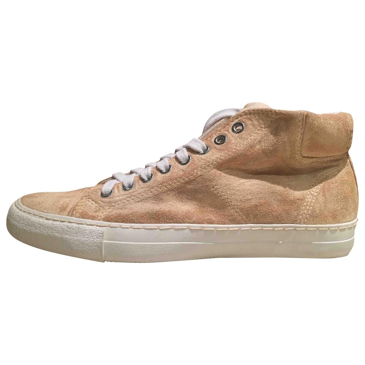 - Baskets   pour homme en cuir - beige