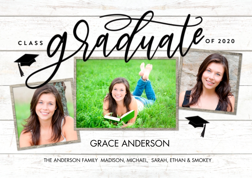 2020 Graduation Announcements 5x7 Cards, Premium Cardstock 120lb with Rounded Corners, Card & Stationery -Graduate 2020 Rustic Frame by Tumbalina