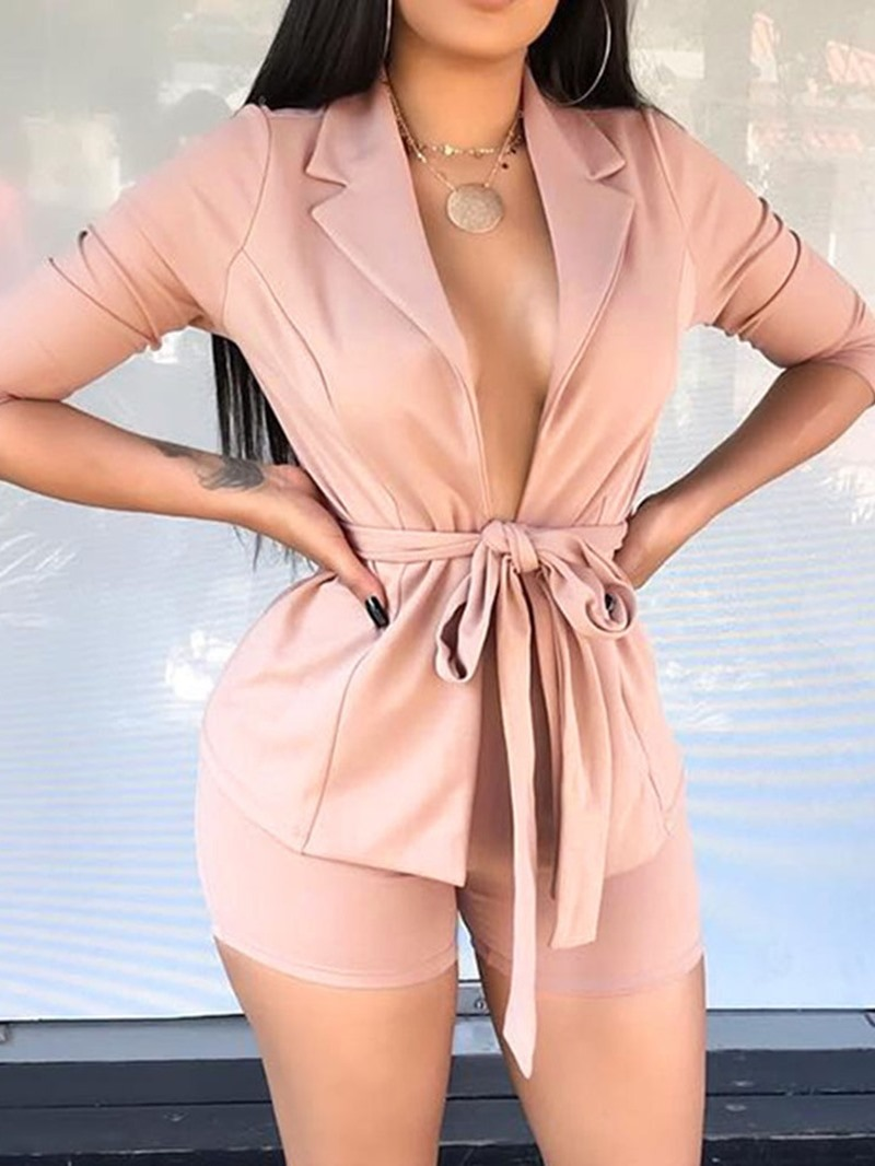 Ericdress Plain Lace-Up Womens Formal Suit Coat And Shorts Two Piece Sets