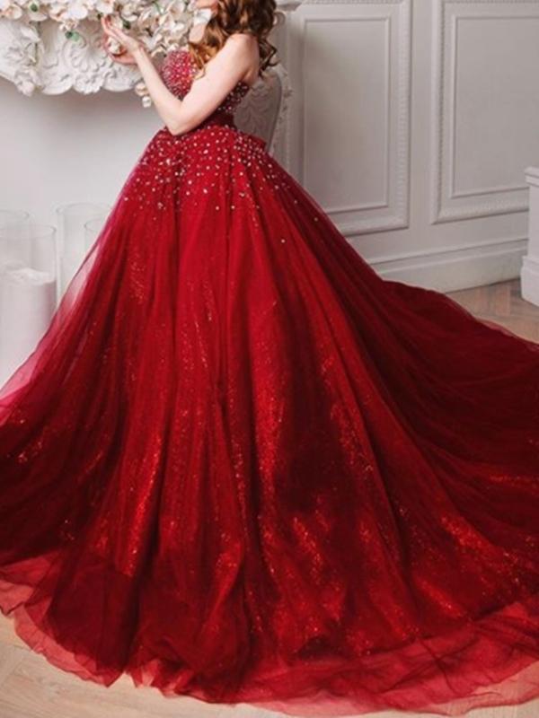 Ericdress Floor-Length Beading Court Train Sleeveless Evening Dress