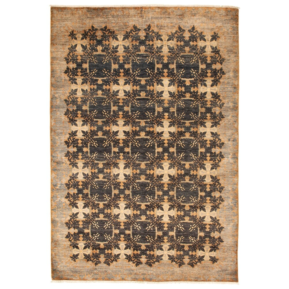 ECARPETGALLERY  Hand-knotted Lahore Finest Collection  Black Wool Rug - 6'1 x 8'11 (6'1 x 8'11 - Black)