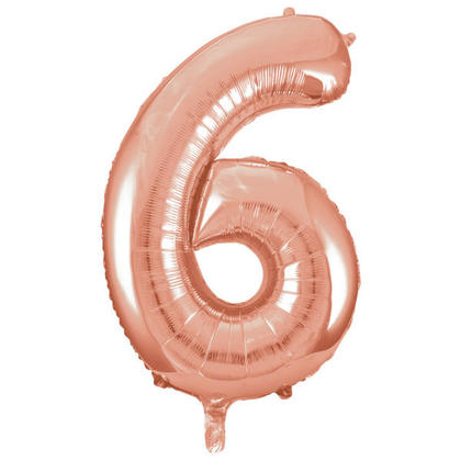 Number 6 Foil Balloon Rose Gold 34 1Pc