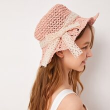 Toddler Girls Bow Knot Decor Straw Hat