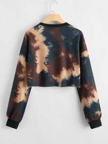 Drop Shoulder Letter Graphic Tie Dye Pullover