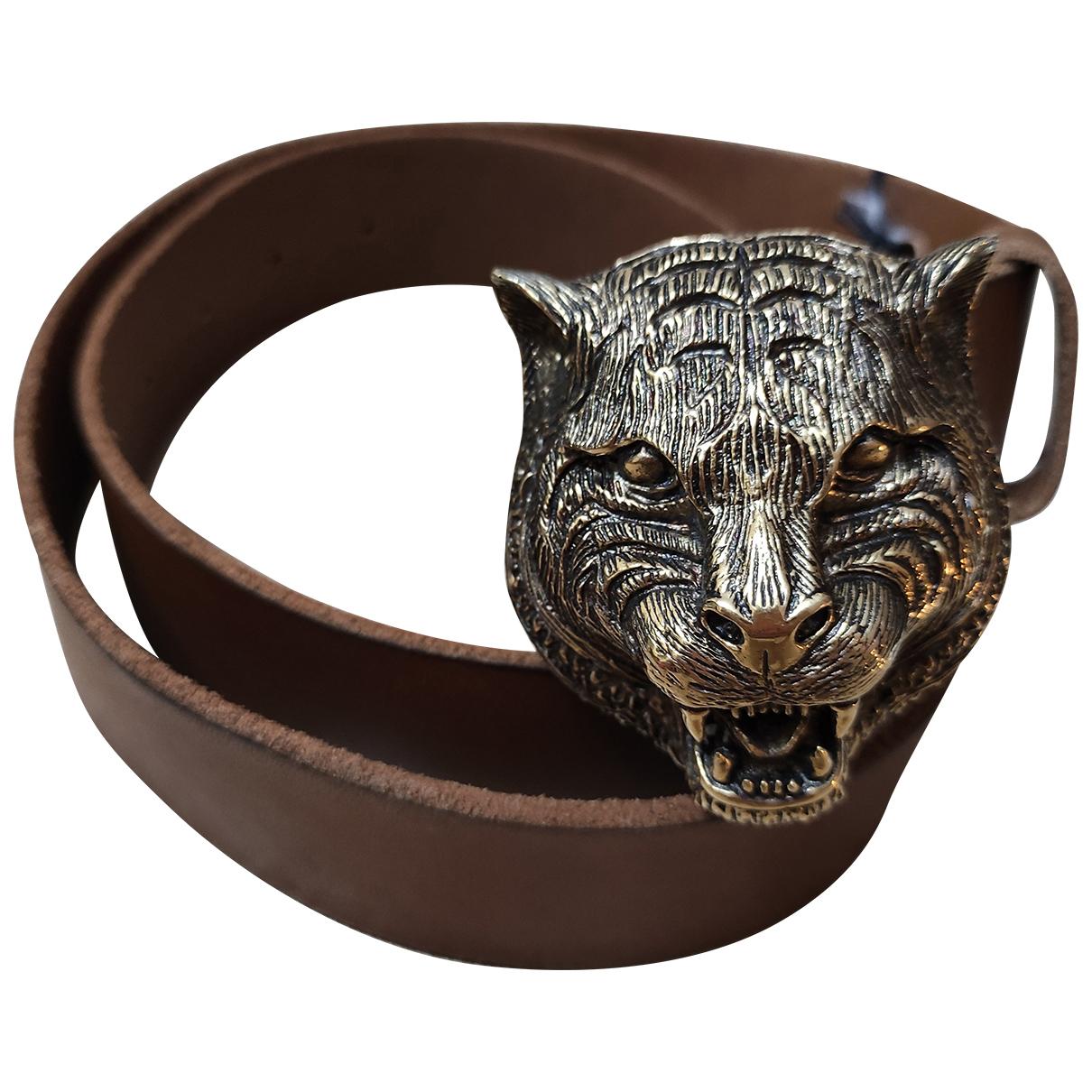 Cinturon Feline Buckle de Cuero Gucci